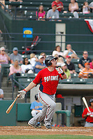 Potomac Nationals catcher Craig Manuel (3) at bat during a game against the Myrtle Beach Pelicans at Ticketreturn.com Field at Pelicans Ballpark on May 25, 2015 in Myrtle Beach, South Carolina.  Myrtle Beach defeated Potomac 3-0. (Robert Gurganus/Four Seam Images)