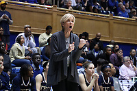 DURHAM, NC - JANUARY 26: Head coach Nell Fortner of Georgia Tech directs her team during a game between Georgia Tech and Duke at Cameron Indoor Stadium on January 26, 2020 in Durham, North Carolina.