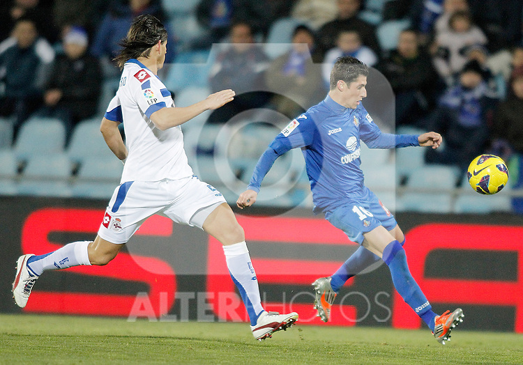 Getafe's Sergio Escudero during La Liga match. February 01, 2013. (ALTERPHOTOS/Alvaro Hernandez)