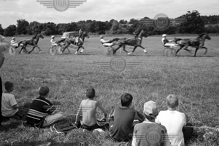 Watching a horse trap race at the Witton Castle track in County Durham.
