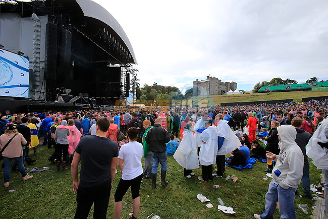 Fans gather in front of the stage during Slane Eminem Concert 2013. 17th August 2013.<br /> (Photo:Eoin Clarke/www.newsfile.ie)
