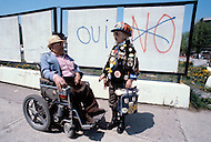 Quebec, Canada, 1980. On May 20 1980, called by the Parti Quebequois (PQ) government, the first referendum on whether Quebec should pursue a path toward sovereignty took place. The OUI (yes) party was defeated by a 59.56 percent to 40.44 percent margin for the NO party. - Secessionist propaganda graffiti.