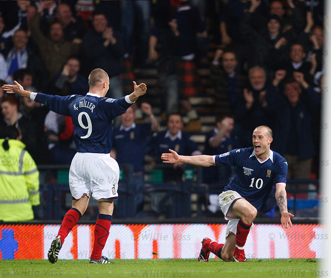 Steven Fletcher celebrates his goal for Scotland with Kenny Miller