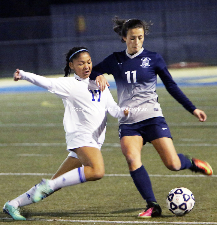 WATERBURY CT. 14 November 2016-110816SV14-#17 Jazzy Sztyler-Magee of Lewis Mills battles for the ball with #11 Kayla Mingachos of Immaculate during CIAC Class M semifinals at Municipal Stadium in Waterbury Monday.<br /> Steven Valenti Republican-American
