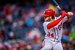 23 May 2017: Washington Nationals right fielder Bryce Harper at bat in the first inning against the Seattle Mariners at Nationals Park in Washington, DC. The Nationals defeated the Mariners 10-1 to take the first game of their inter-league series. Mandatory Credit: Ed Wolfstein Photo *** RAW (NEF) Image File Available ***