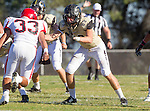 Palos Verdes, CA 10/09/15 - Paxton Shive (Peninsula #83) and Austin Lavakelaho (Morningside #33) in action during the Morningside - Peninsula varsity football game.  Morning side defeated Peninsula 24-21.