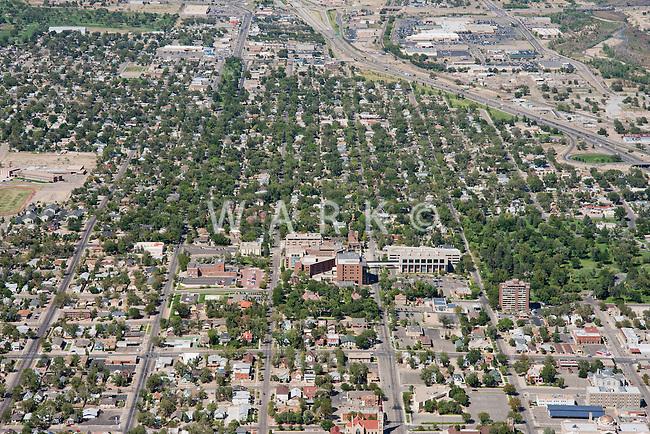 Aerial of Pueblo, Colorado featuring Parkview Hospital.  Looking North.