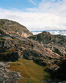 GREENLAND, Kangerlussuaq, Russel's Glacier in the background, rock formations on landscape