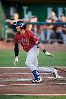 Jose Caraballo (6) of the Idaho Falls Chukars follows through on a swing during a game against the Ogden Raptors at Lindquist Field on August 29, 2018 in Ogden, Utah. Idaho Falls defeated Ogden 15-6. (Stephen Smith/Four Seam Images)
