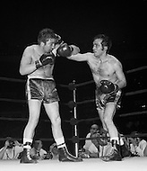 11 May 1970, Manhattan, New York City, New York State, USA. Marcel Cerdan Jr. (R) takes a swing at Donato Paduano during their boxing match at Madison Square Garden. Paduano defeated Cerdan Jr. Image by © JP Laffont