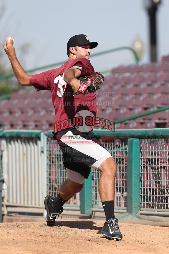 Ryan Carpenter #35 of the Modesto Nuts throws in the bullpen before a game against the Inland Empire 66ers at San Manuel Stadium on May 28, 2014 in San Bernardino, California. Modesto defeated Inland Empire, 3-2. (Larry Goren/Four Seam Images)