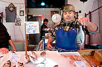 Giacomo Marrone, a fisherman selling his fresh produce at Il Capo Markets, Palermo, Sicily