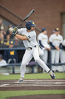 Michigan Wolverines outfielder Jonathan Engelmann (2) at bat against the Michigan State Spartans on May 19, 2017 at Ray Fisher Stadium in Ann Arbor, Michigan. Michigan defeated Michigan State 11-6. (Andrew Woolley/Four Seam Images)