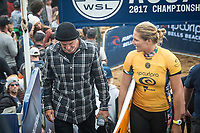 BELLS BEACH, Victoria/AUS (Monday, April 17, 2017) Stephanie Gilmore (AUS)  with her shaper Darren Handley (AUS) - The Rip Curl Pro Bells Beach, Stop No. 3 of the World Surf League (WSL) Championship Tour (CT), was been called ON in four-to-six foot (1 - 2 metre) conditions at the world-renowned Bells Beach. Up first will be the remaining five heats of men&rsquo;s Round 3, followed by the women&rsquo;s Quarterfinals, semi's and final. Defending event winner Courtney Conlogue (USA) claimed her second Bell's bell by defeating Stephanie Gilmore (AUS) in the 40 minute final. Gilmore retains the rating lead and while be wearing he yellow leaders jersey when the tour moves to Brazil.<br /> Photo: joliphotos.com