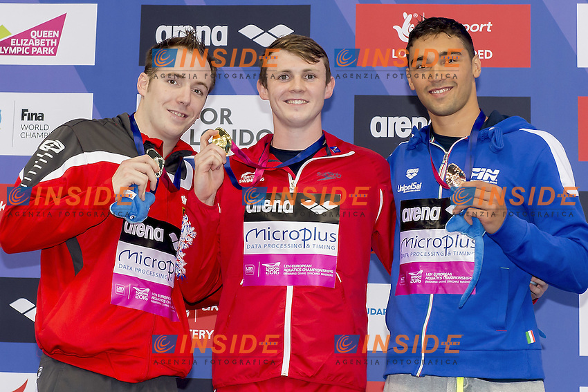200 Breast Men podium (L to R)  Koch GER; Murdoch GBR; Pizzini ITA <br /> 200 Breaststroke men Podium<br /> London, Queen Elizabeth II Olympic Park Pool <br /> LEN 2016 European Aquatics Elite Championships <br /> Swimming day 04 heats<br /> Day 11 19-05-2016<br /> Photo Giorgio Scala/Deepbluemedia/Insidefoto