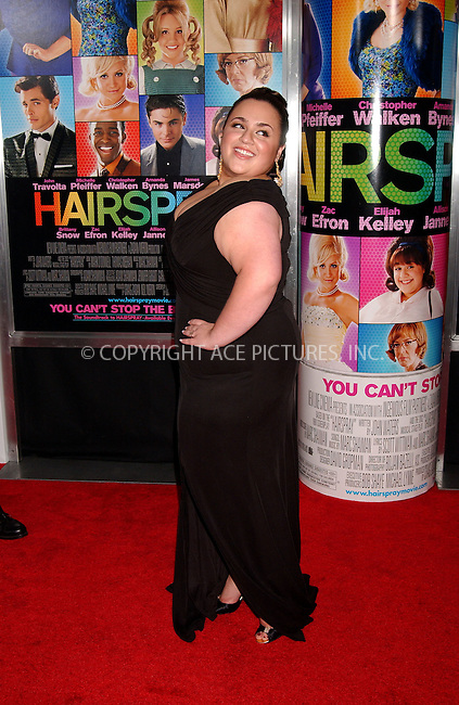 WWW.ACEPIXS.COM . . . . .....July 16, 2007. New York City.....Actress Nikki Blonsky arrives at the 'Hairspray' Premiere held at the held at the Ziegfeld Theater in New York City...  ....Please byline: Kristin Callahan - ACEPIXS.COM..... *** ***..Ace Pictures, Inc:  ..Philip Vaughan (646) 769 0430..e-mail: info@acepixs.com..web: http://www.acepixs.com