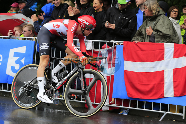 Tim Wellens (BEL) Lotto-Soudal in action during Stage 1, a 14km individual time trial around Dusseldorf, of the 104th edition of the Tour de France 2017, Dusseldorf, Germany. 1st July 2017.<br /> Picture: Eoin Clarke   Cyclefile<br /> <br /> <br /> All photos usage must carry mandatory copyright credit (&copy; Cyclefile   Eoin Clarke)