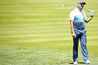 Sergio Garcia reacts after hitting his second shot from the 18th fairway during the 2016 U.S. Open in Oakmont, Pennsylvania on June 17, 2016. (Photo by Jared Wickerham / DKPS)