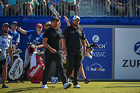 Jason Day (AUS) and Shane Lowry (IRL) depart the first tee during Round 4 of the Zurich Classic of New Orl, TPC Louisiana, Avondale, Louisiana, USA. 4/29/2018.<br /> Picture: Golffile | Ken Murray<br /> <br /> <br /> All photo usage must carry mandatory copyright credit (&copy; Golffile | Ken Murray)
