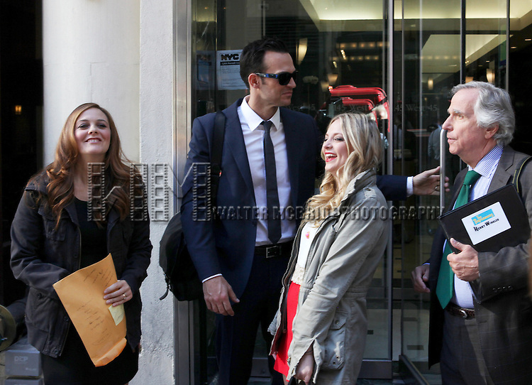 """Actress Alicia Silverstone, actor Cheyenne Jackson, actress Jenni Barber and actor Henry Winkler attends press event to introduce the cast and creators of the new Broadway play """"The Performers""""at the Hard Rock Cafe on Tuesday, Sept. 25, 2012 in New York."""