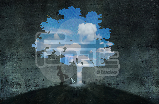 Illustrative image of man watering tree representing hope