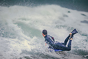 3rd January 2018,  Baleal, Peniche Portugal - Unidentified bodyboard surfer during practice , before the upcoming Nazare big-wave surfing event which will have giant wave runs