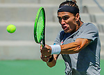 SURPRISE, AZ - MAY 12: Pierre Montrieul of the Barry Buccaneers returns a ball against Kiranpal Pannu of the Columbus State Cougars during the Division II Men's Tennis Championship held at the Surprise Tennis & Racquet Club on May 12, 2018 in Surprise, Arizona. (Photo by Jack Dempsey/NCAA Photos via Getty Images)