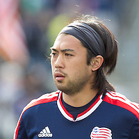New England Revolution midfielder Lee Nguyen (24). In a Major League Soccer (MLS) match, the New England Revolution defeated Portland Timbers, 1-0, at Gillette Stadium on March 24, 2012