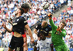 19.05.2019,  GER; 2. FBL, Hamburger SV vs MSV Duisburg ,DFL REGULATIONS PROHIBIT ANY USE OF PHOTOGRAPHS AS IMAGE SEQUENCES AND/OR QUASI-VIDEO, im Bild Leo Lacroix (Hamburg #02) schiesst das 1-0 fuer Hamburg vorbei an Torhueter Daniel Mesenhoeler (Mesenhöler Duisburg #27)    Foto © nordphoto / Witke *** Local Caption ***