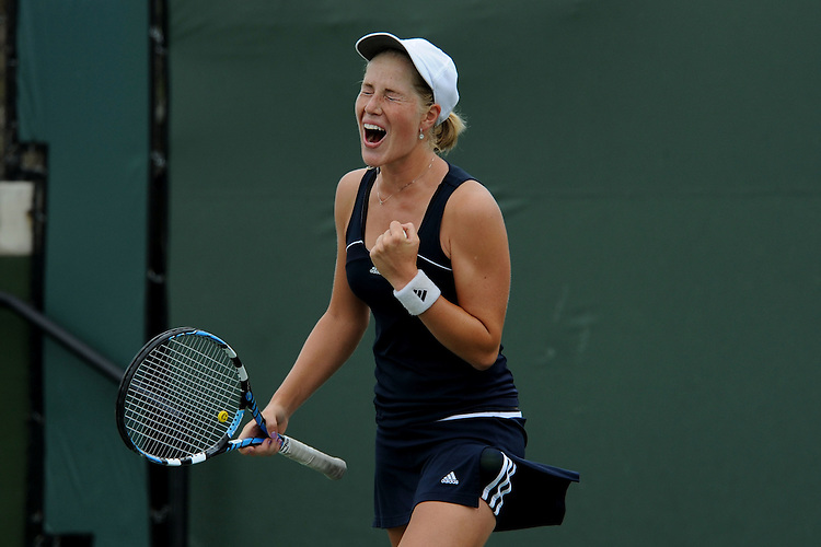 SAN DIEGO, CA - APRIL 25:  Alexandra Poorta of the Saint Marys Gaels celebrates after clinching the WCC Tennis Championships at the Barnes Tennis Center on April 25, 2010 in San Diego, California.