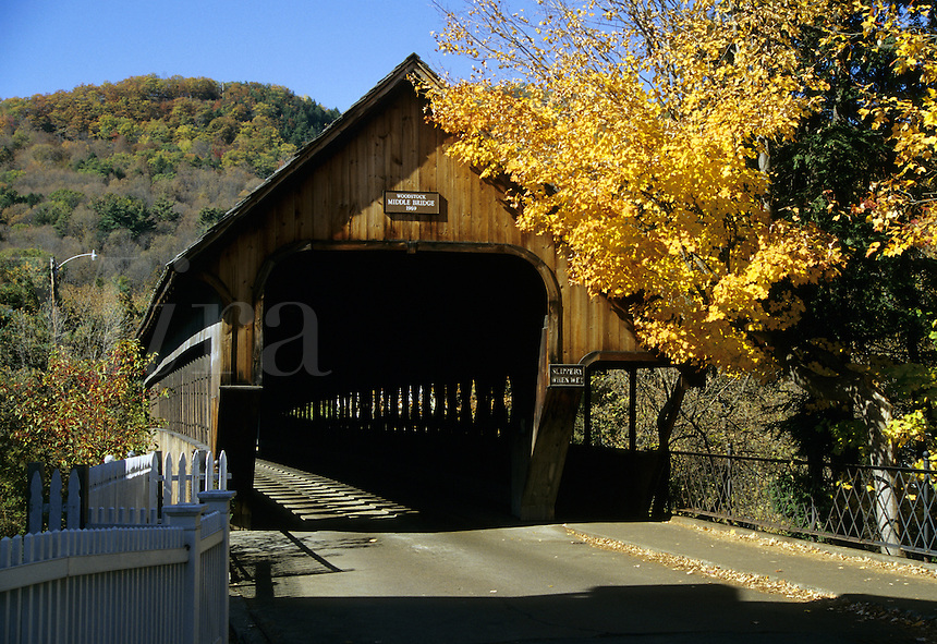 Woodstock, Vermont.The Middle Bridge in Woodstock, Vermont was built in 1969 to bring the art of building covered bridges into the 20th Century
