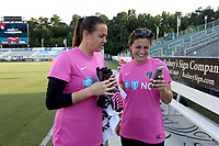 Cary, North Carolina  - Saturday September 09, 2017: Katelyn Rowland and Sabrina D'Angelo prior to a regular season National Women's Soccer League (NWSL) match between the North Carolina Courage and the Houston Dash at Sahlen's Stadium at WakeMed Soccer Park. The Courage won the game 1-0.