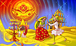 Couples doing garba dance of navratri festival