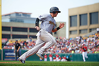 Scranton/Wilkes-Barre RailRiders outfielder Tyler Austin (17) rounds third running the bases during a game against the Buffalo Bisons on June 10, 2015 at Coca-Cola Field in Buffalo, New York.  Scranton/Wilkes-Barre defeated Buffalo 7-2.  (Mike Janes/Four Seam Images)