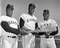 San Francisco Giants sluggers, Jim Ray Hart, Willie McCovey, and Willie Mays pictured in 1967..(photo by Ron Riesterer)