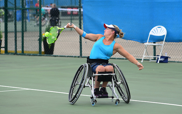 Jordanne Whiley (GBR), (green top) and doubles partner Lucy Shuker (GBR) (blue top) in action during the British Open UNIQLO Wheelchair Tennis Tour at Nottingham Tennis Centre.<br /> <br /> Picture: Chris Vaughan/James Jordan Photography/Tennis Foundation<br /> Date: July 27, 2016