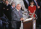 Former President Mikhail Gorbachev of the Soviet Union makes remarks in Statuary Hall of the US Capitol in Washington, DC on May 14, 1992.<br /> Credit: Ron Sachs / CNP