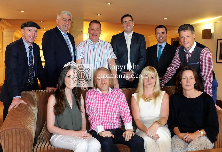 In front, Mairead Breathnach, Miss Kerry, Barry Egan, Sunday Independent, Clodagh Irwin-Owens and Kate Quinlan and at  back, Deputy Michael Healy-Rae, John o'Dwyer, Liam Quinlan, Darragh O'Se, Brian Bowler and Liam O'Connor at the Barry Egan Kerry people meeting in The Brehon Hotel, Killarney.<br /> Picture by Don MacMonagle
