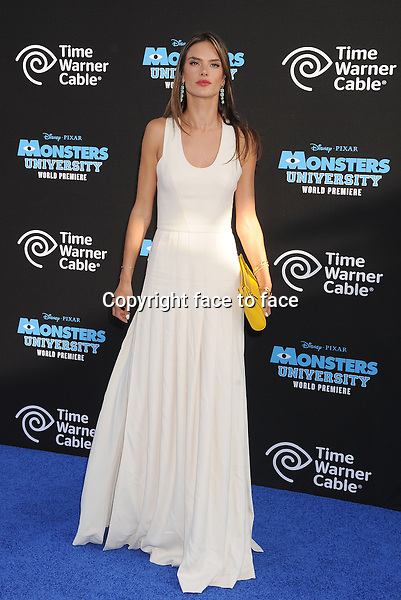 HOLLYWOOD, CA- JUNE 17: Model Alessandra Ambrosio attends the world premiere of 'Monsters University' at the El Capitan Theatre on June 17, 2013 in Hollywood, California.<br />