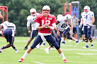 August 2, 2017: New England Patriots quarterback Tom Brady (12) warms up at the New England Patriots training camp held at Gillette Stadium, in Foxborough, Massachusetts. Eric Canha/CSM