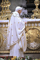 Pope Benedict XVI celebrates an Easter Vigil mass in Saint Peter's Basilica at the Vatican ..March 22, 2008..