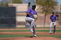 Colorado Rockies relief pitcher Breiling Eusebio (43) prepares to deliver a pitch during an Extended Spring Training game against the San Diego Padres at Peoria Sports Complex on March 30, 2018 in Peoria, Arizona. (Zachary Lucy/Four Seam Images)