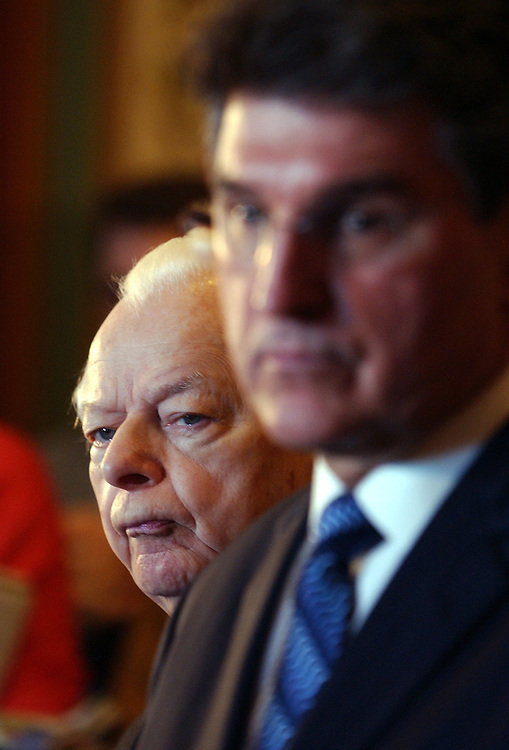 Sen. Robert Byrd, D-W.V., left, attends a news conference with members of the West Virginia Congressional Delegation to discuss state and federal action on mine safety.  Gov. Joe Manchin, D-W.V., appears at right.