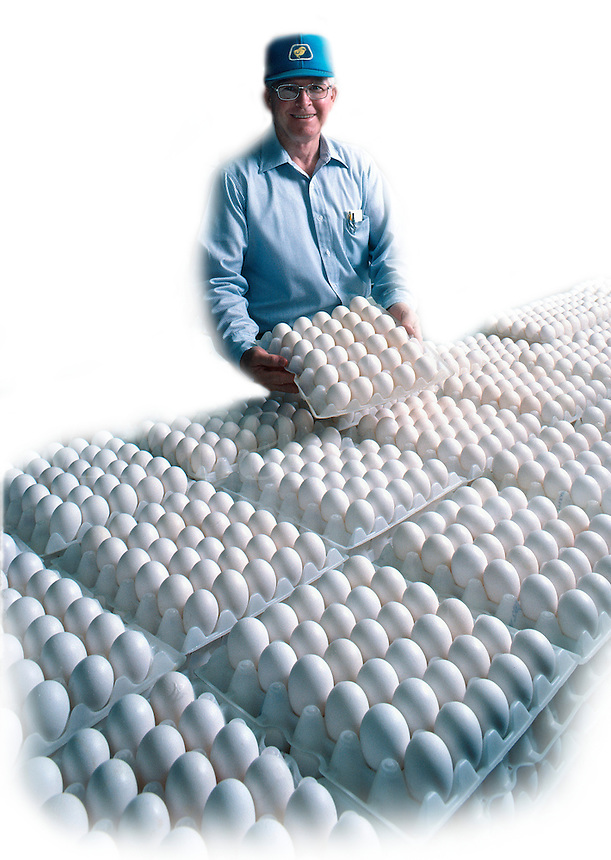 A smiling male worker at a dairy processing center preparing eggs for packaging and shipping.