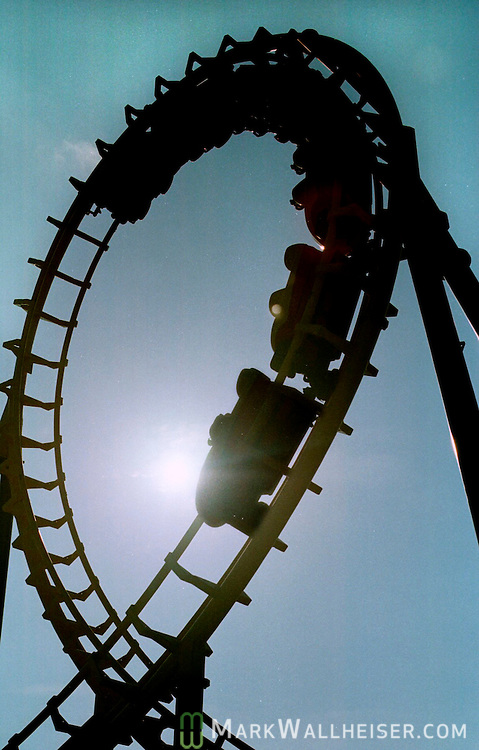 The Boomerang roller coaster makes a 360 degree loop at the Wild .Adventures Theme Park in Valdosta, Georgia...