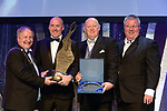 Sean Power, Twin Productions, Musical Society, who were 2nd Overall Winners in the Sullivan Section for the show 'Spamalot' receiving the trophy from on left, Colm Moules, President, AIMS and Seamus Power, Vice-President at the Association of Irish Musical Societies annual awards in the INEC, KIllarney at the weekend. Also in photo is AIMS adjudicator Greg Currid.<br /> Photo: Don MacMonagle -macmonagle.com<br /> <br /> <br /> <br /> repro free photo from AIMS<br /> Further Information:<br /> Kate Furlong AIMS PRO kate.furlong84@gmail.com