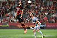 1st January 2020; Bankwest Stadium, Parramatta, New South Wales, Australia; Australian A League football, Western Sydney Wanderers versus Brisbane Roar; Alexander Meier of Western Sydney Wanderers rises to beat Tom Aldred of Brisbane Roar to the ball - Editorial Use