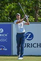 Ross Fisher (ENG) watches his tee shot on 18 during Round 2 of the Zurich Classic of New Orl, TPC Louisiana, Avondale, Louisiana, USA. 4/27/2018.<br /> Picture: Golffile | Ken Murray<br /> <br /> <br /> All photo usage must carry mandatory copyright credit (&copy; Golffile | Ken Murray)