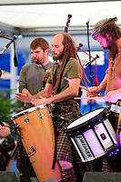 The Red Hot Chili Pipers on stage during Tartan Tuesday's Practice day of the Ryder Cup 2014 played on the PGA Centenary Course at the Gleneagles Hotel, Auchterarder, Scotland.: Picture Eoin Clarke, www.golffile.ie: 23rd September 2014