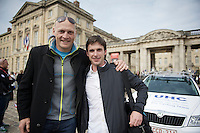 2 former Roubaix champions meet again the day ahead of the race in Compiègne: Magnus Backstedt (2004 winner, SWE) and Servais Knaven (2011 winner, NLD, now DS with SKY)<br /> <br /> Paris - Roubaux 2014